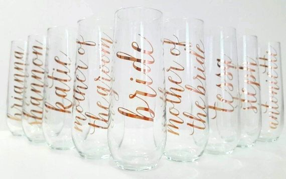 The Original ROSE GOLD Personalized Stemless Champagne Flutes / Stemless…
