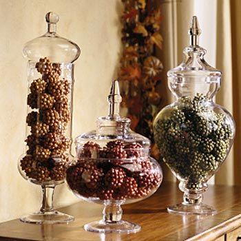 Fall decorHoliday, Fall Leaves, Decor Ideas, Apothecary Jars, Falldecor, Pine Cones, Fall Decorations, Fall Decorating, Apothecaries Jars