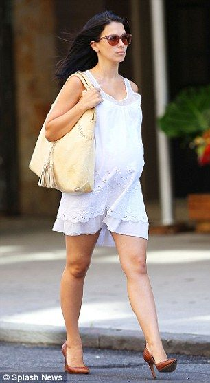 Solo stroll: 29-year-old Hilaria was seen without her famous husband, 30 Rock actor Alec Baldwin