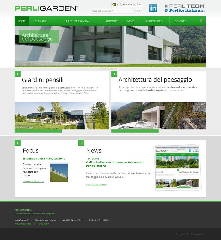 Sito web www.perligarden.com, dedicato alle applicazioni della perlite espansa nella realizzazione di aree verdi, giardini pensili e tetti giardino. #webdesign