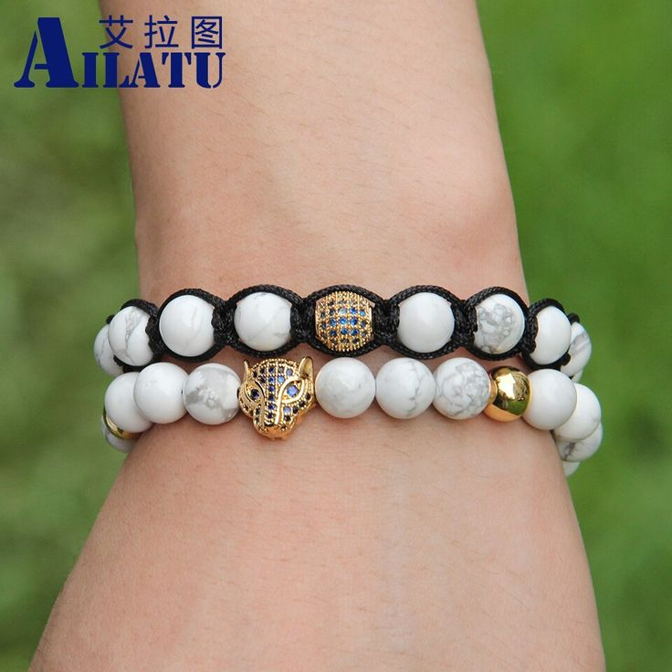 Ailatu 8mm natural white howlite marble stone blue zircons leopard head braided …   – Products