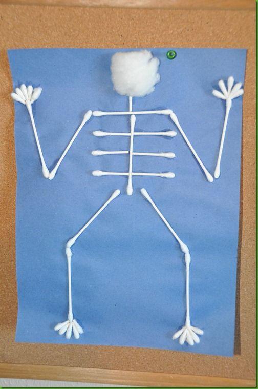 pinterest the body bones skeleton preschool crafts  | ... worksheet, it was time for Arts & Crafts. We made q-tip skeletons