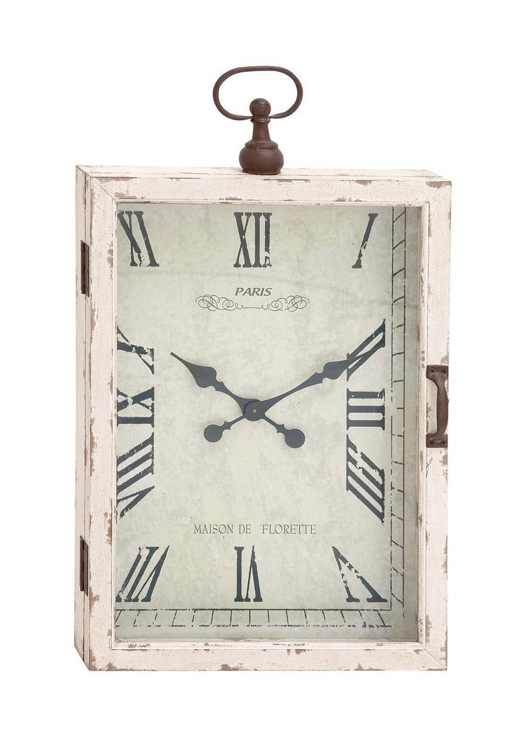 20x34 Shabby White Distressed French Country Cottage Wood Wall Clock Home Decor