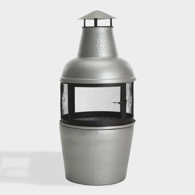 Silver Hammered Metal Chiminea | World Market