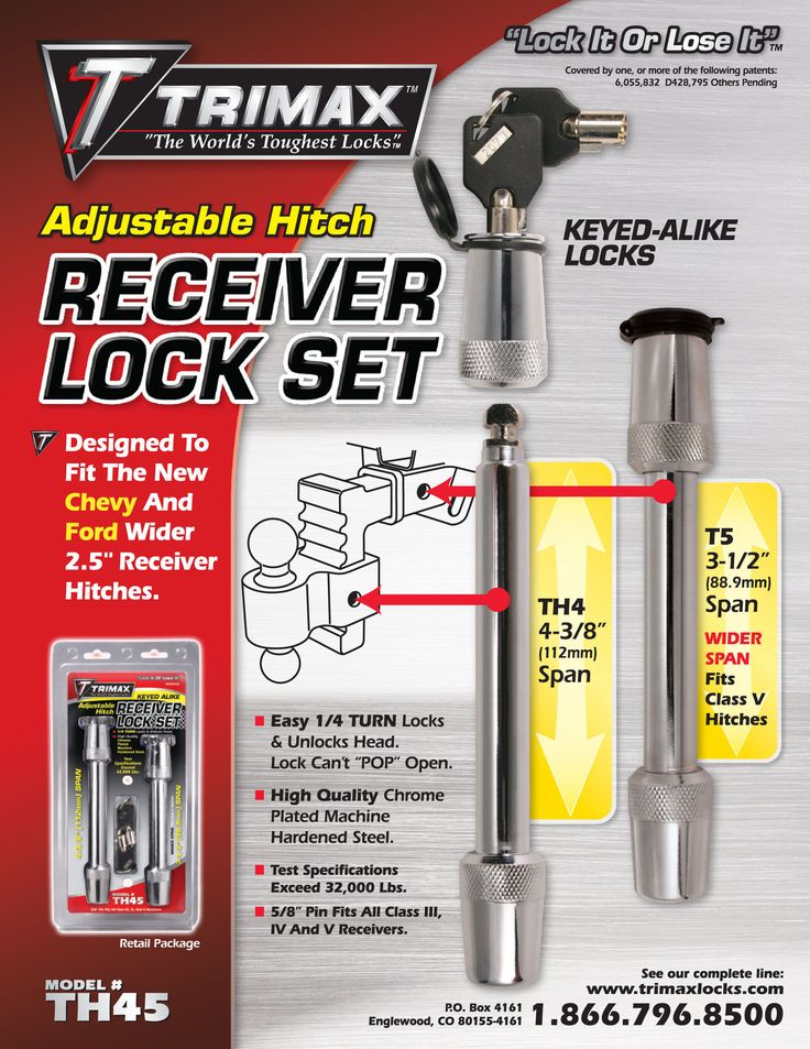 """TRIMAX -- Adjustable Hitch Keyed-Alike Locks RECEIVER LOCK SET  TH4 & T5  Designed to fit the new Chevy and Ford wider 2.5"""" receiver hitches.  Easy 1/4 Turn Locks & Unlocks Head. Lock Can's """"POP"""" Open. High Quality Chrome Plated Machine Hardened Steel. Test Specifications Exceed 32,000 Lbs. 5/8"""" Pin Fits All Class lll, lV and V Receivers. To Order Or Find A Local Dealer, Go To Our Website at www.trimaxlocks.com"""