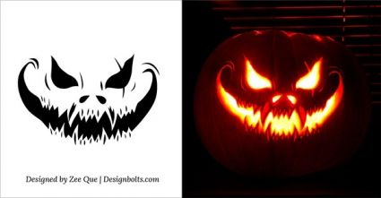 free designbolts scary halloween pumpkin carving patterns
