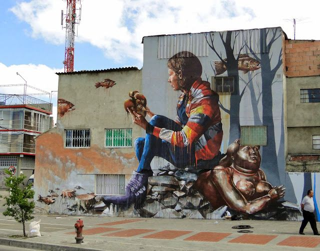 """""""The Artifact"""" New Mural By Street Artist Fintan Magee on the streets of Bogota in Colombia. 1"""