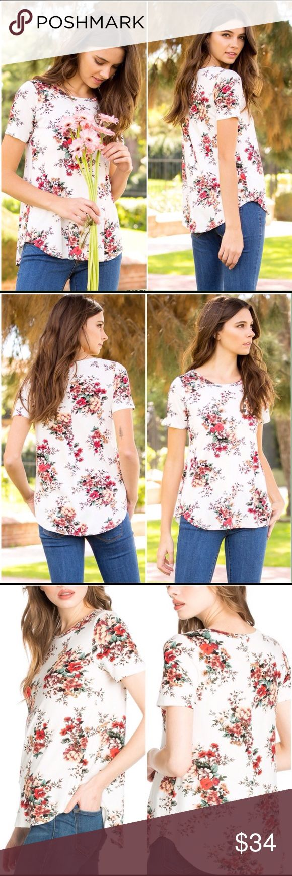 FLASH SALE! Stretch Floral Top Off white, or cream, with poppy red floral print, shirt tail hem, a slight high low hem, round neckline, short sleeves, 95% rayon, 5% spandex. High quality fabric, roomy fit. Made with Love In The USA! Tops Tees - Short Sleeve