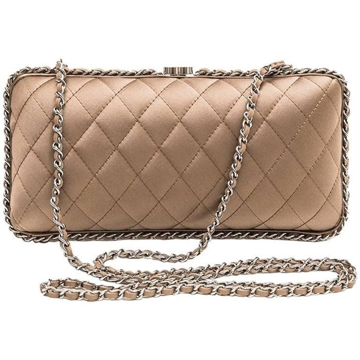 CHANEL Evening Clutch in Quilted Golden Beige Silk Satin | From a collection of rare vintage clutches at https://www.1stdibs.com/fashion/handbags-purses-bags/clutches/