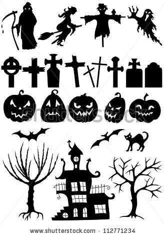 Set of halloween silhouette on white background by hoverfly, via ShutterStock