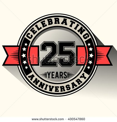 Celebrating 25 years anniversary logo, 25th anniversary sign, retro design. - stock vector