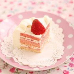 Japanese strawberry rose shortcake - rose syrup soaked genoise sponge filled with whipped cream #foodgawker