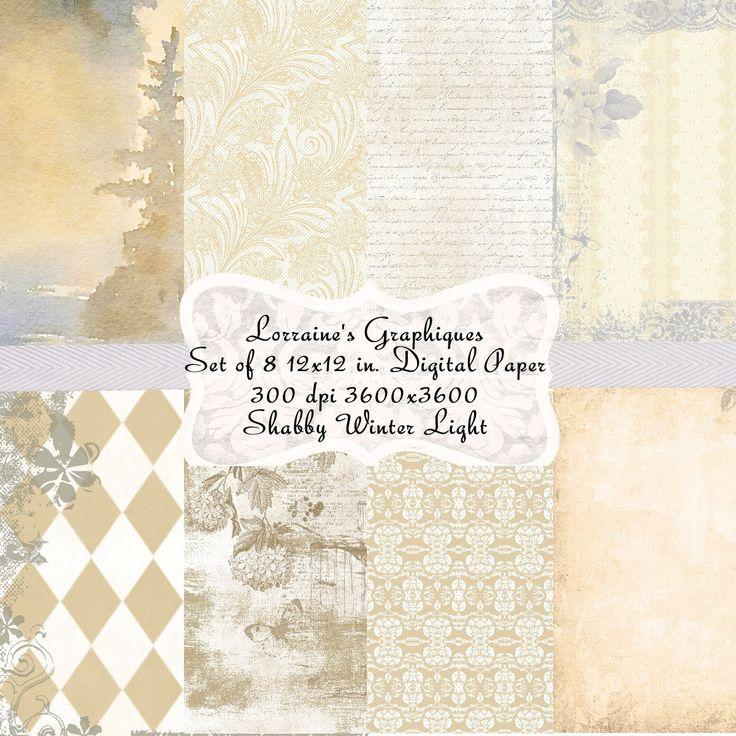 Shabby Winter Light An Elegant Chic Seasonal Digital Paper Set Background