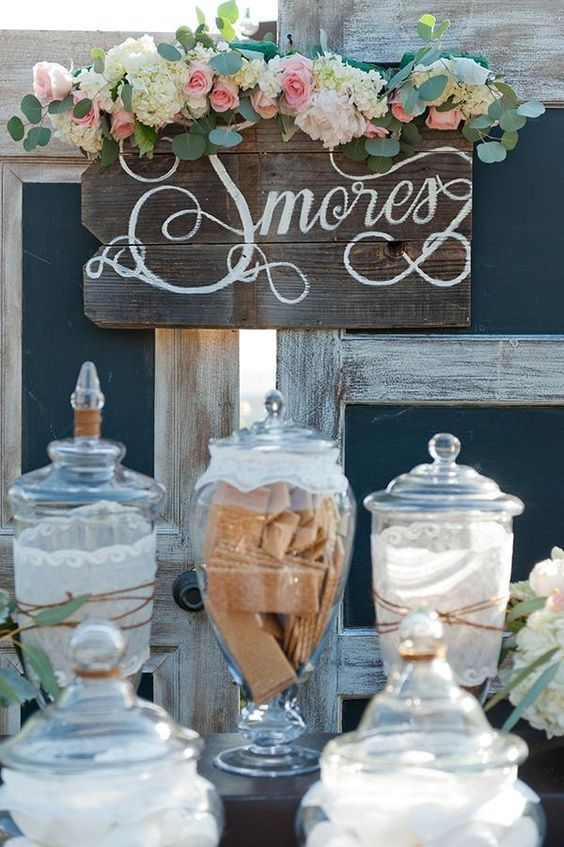 winter smore wedding bar / http://www.deerpearlflowers.com/winter-wedding-ideas/2/