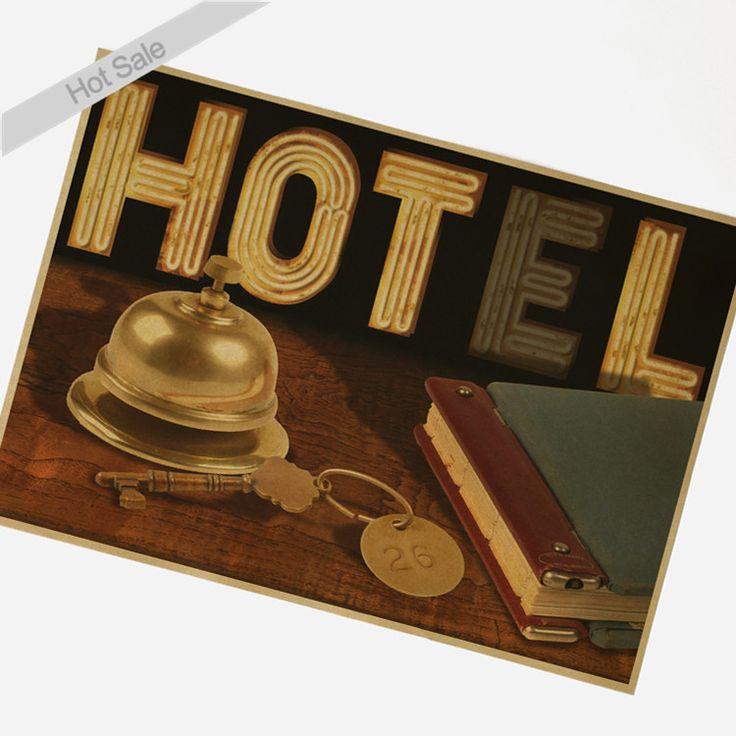 Antique Hotel Плакат Vintage Kraft Бумажные Плакаты Ретро Стикер Стены Гостиная ресторан Бар Кафе декор Краска 42x30 см SWT-024