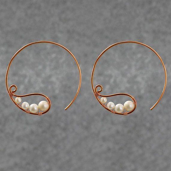 Pearl copper wiring hoop Earring handmade ani by AniDesignsllc