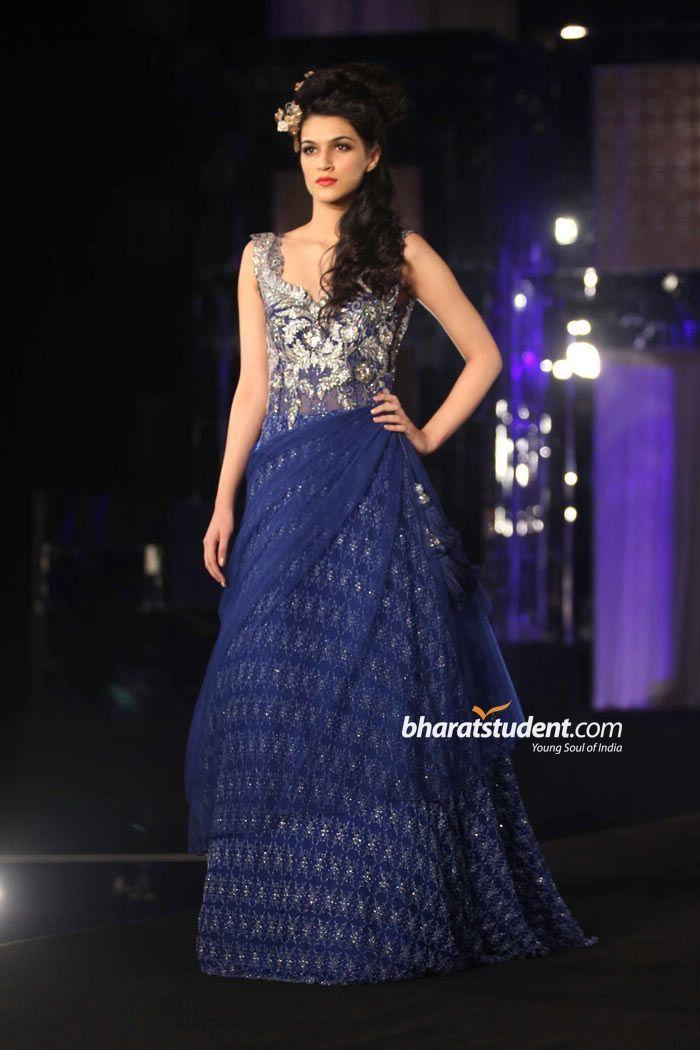 blue gown, blue indian wedding dress