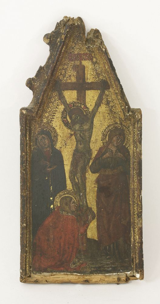 Tuscan School, late 14th century CHRIST ON THE CROSS WITH THE THREE MARIES Gold ground, central panel of a triptych for private devotion 45 x 20.5cm, in an integral carved giltwood frame Sold for £35,000 on 27th June 2017