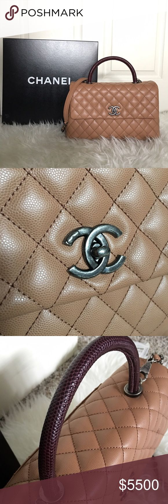 """Chanel Coco Handle A92992 Brand new! Just took it out of the box for pictures. Purchased a few weeks ago, but decided to let it go since it's a little too big for me. Was on the waitlist for months!! This one is a very rare piece especially with this color combo!   Beige caviar (grained) leather with burgundy lizard leather for handle Comes with dustbag, box, care booklet, and tag.  13""""x8.25""""x5.5"""" 20"""" strap drop (can be worn crossbody) that can be detachable  No trades and firm on price…"""