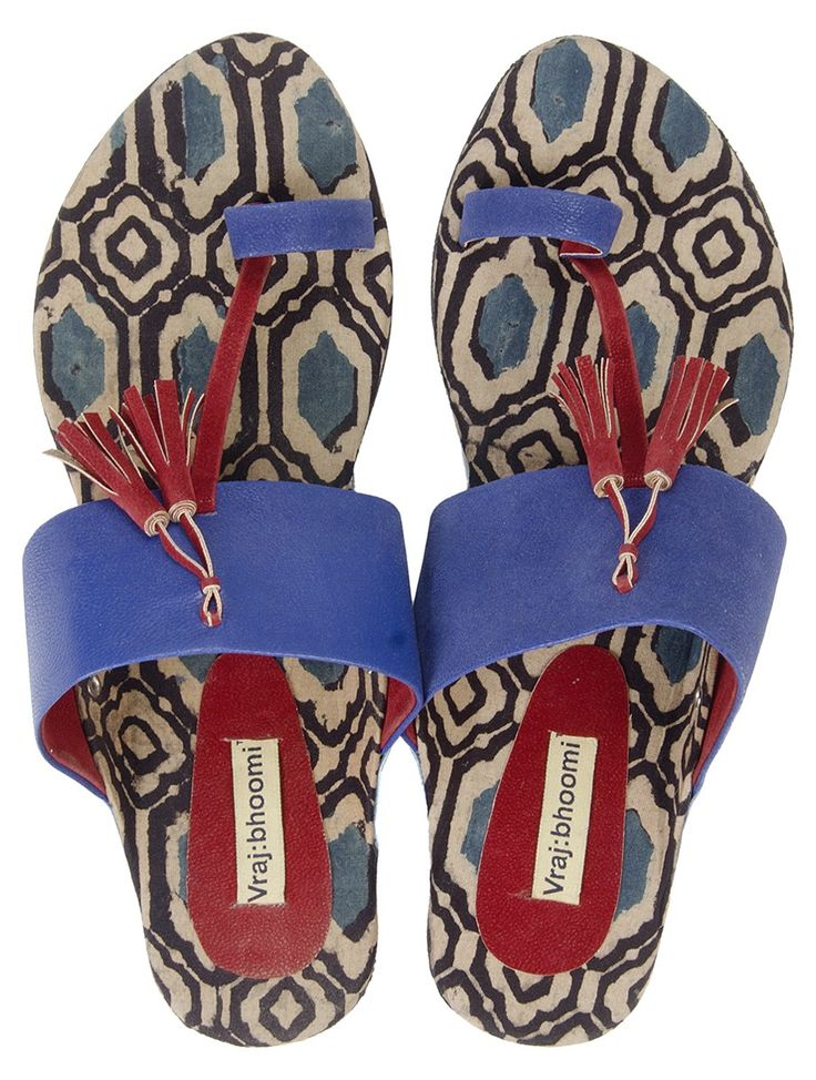 Blue-Red Hand Crafted Ajrak Slip Ons on Jaypore.com