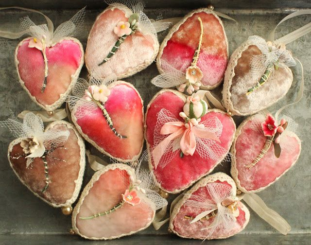 Vintage millinery and silk velvet hearts for your Valentine. all ready for the shop update tomorrow. by Julie Collings