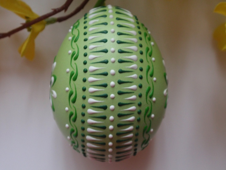 Banty Chicken Pysanka in Green, Easter Egg Pysanka. $14.95, via Etsy.