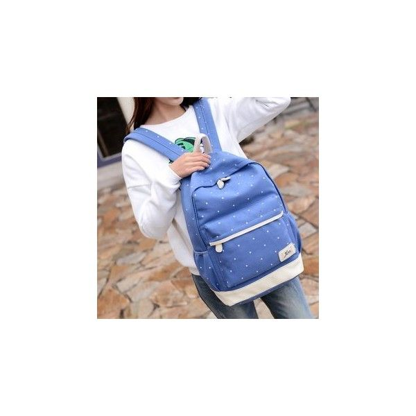 Dotted Canvas Backpack ($30) ❤ liked on Polyvore featuring bags, backpacks, accessories, polka dot backpack, blue backpacks, dot backpack, day pack backpack and canvas backpacks