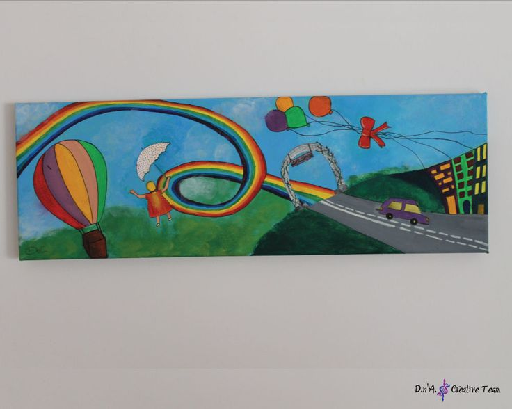 -CHILDHOOD -Acrylic/ Oil paint on canvas -Measures: 20x60 cm  https://www.etsy.com/listing/213095499/childhood-acrylic-painting-rainbow-kids?ref=shop_home_active_9