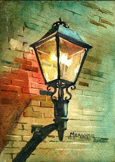 Day 15 - Trailshead Gaslight by Spencer Meagher Watercolor ~ 7 x 5