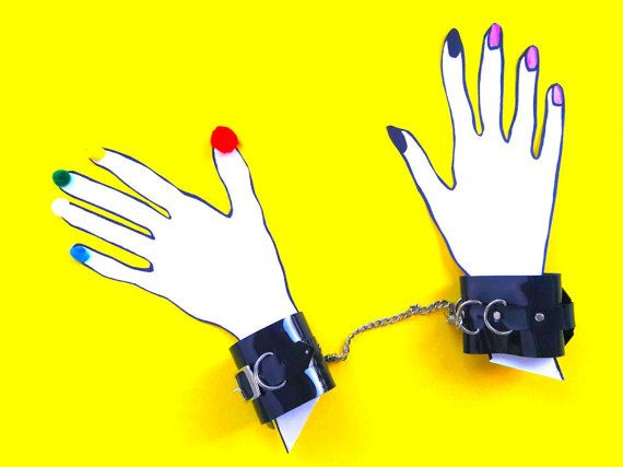Black PVC handcuff  vinyl handcuffs Transparent 90s by YPSILONBAGS