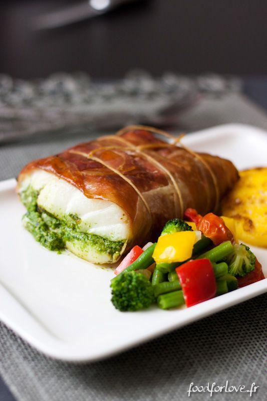 Rôti de Cabillaud au Pesto et Jambon Fumé  http://www.foodforlove.fr/