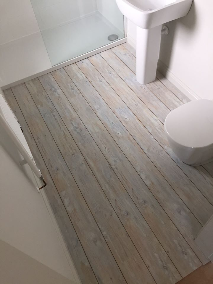 Coastal Carpets, Camaro White Limed Oak luxury vinyl flooring tiles with  Walnut Marquetry Strip Bathroom floor, pale limed wood