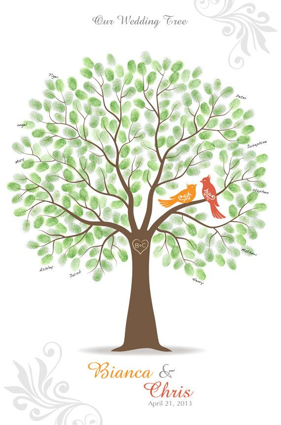 Thumb Print Wedding Tree Guest Book Poster with 3 Ink Pads, Wall Art, Personalized Love Birds Print, 20x30 (up to 300 signatures). $80.00, via Etsy.