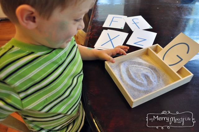 diy montessori sand writing tray with free printable for the letter cards your best diy. Black Bedroom Furniture Sets. Home Design Ideas