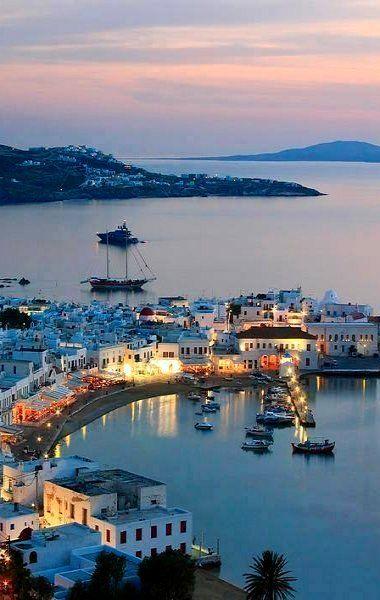 Mykonos Island by night.. Greece