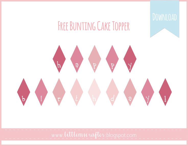 wedding cake bunting template free printable pink ombre bunting cake topper www 22126