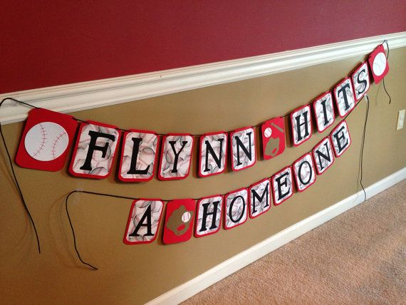 Baby's First Birthday Baseball Banner, baby hits a homeONE, baseball themed birthday party, baseball first birthday banner, baby's rookie year, on Etsy, $20.00