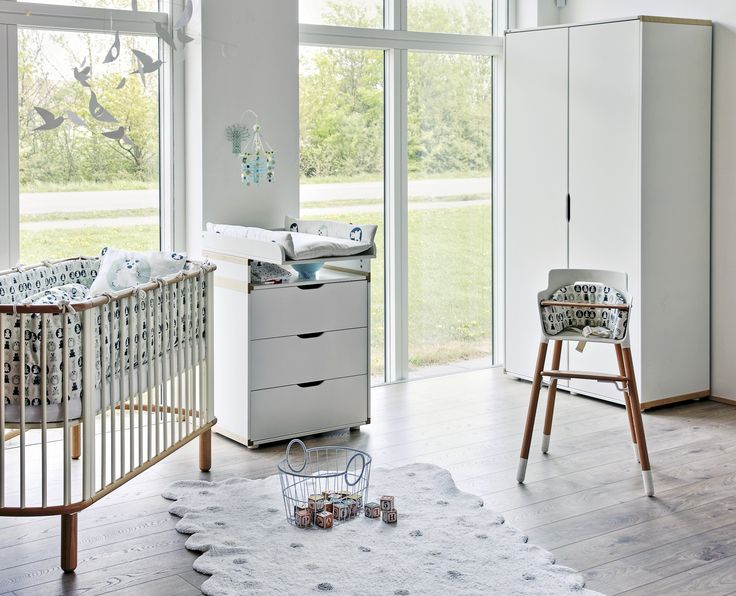 Flexa Nursery Furniture - Cot, Changing Table and High Chair in White and Beech   Shop. Rent. Consign. Gently used designer maternity brands you love at up to 90% off retail! MotherhoodCloset.com Maternity Consignment online superstore.