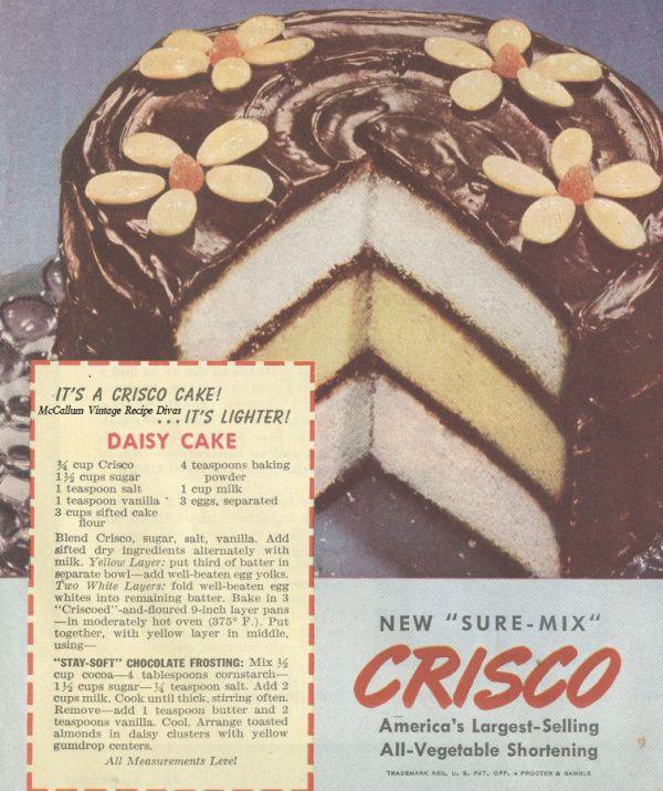 Crisco Vintage Daisy Cake Ad with Recipe