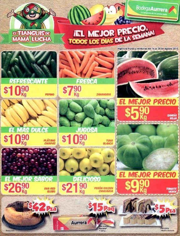 Bodega Aurrera: Frutas y Verduras del 14 al 20 de agosto
