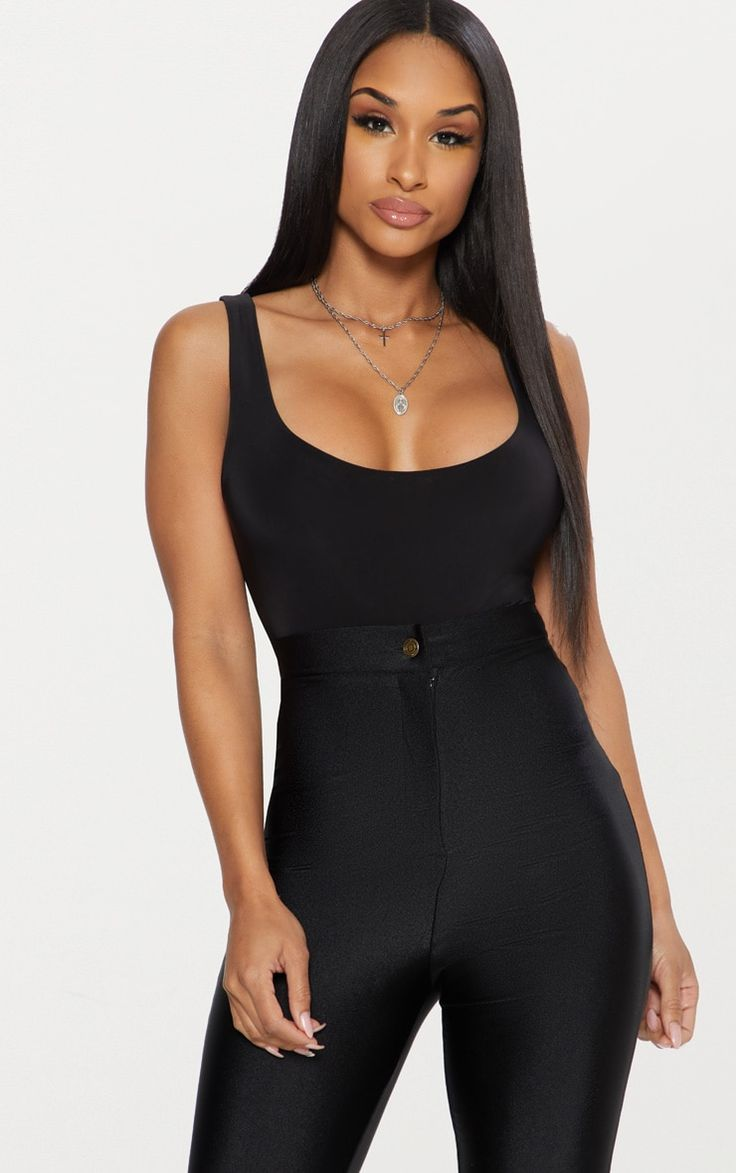 Black Second Skin Scoop Neck Thong Bodysuit Featuring a flattering scoop neck and a comfortable t...