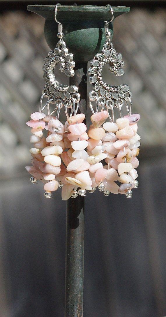 Rose boucles doreilles opale boucles doreilles Pierre