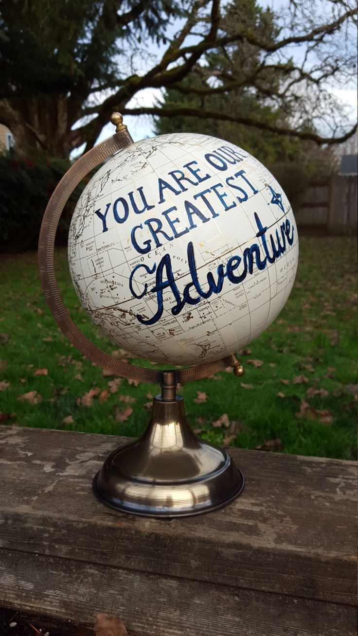 You Are Our Greatest Adventure Globe,Hand Painted Nursery Globe,Travel Nursery,Nursery Quote Globe,Adventure Globe,Personalized globe by RobbinsNestNursery on Etsy https://www.etsy.com/listing/267682350/you-are-our-greatest-adventure-globehand