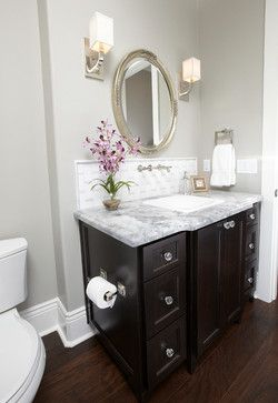 elegant powder room.  Wall color is Seattle by Kelly Moore Paint.