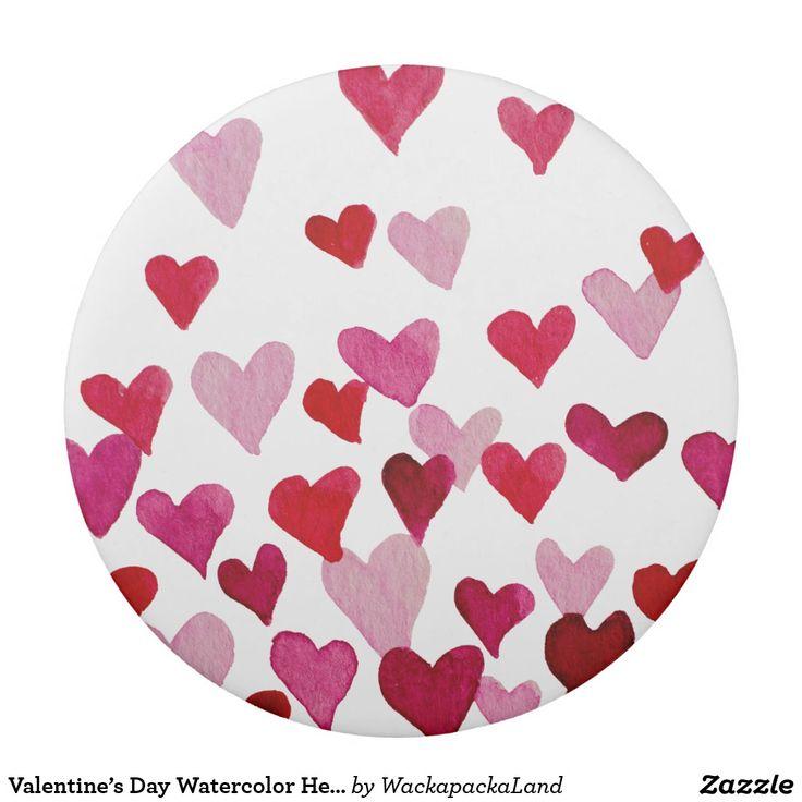Valentine's Day Watercolor Hearts – pink eraser #zazzle #pink #red #eraser  stationery #cutestationery #hearts #valentinesday #valentine #stvalentinesday #saintvalentine