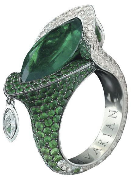 AVAKIAN - A striking avant-garde emerald and diamond ring.