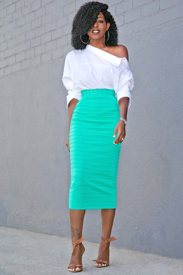 Deconstructed Button-Down Shirt + Ribbed Pencil Skirt