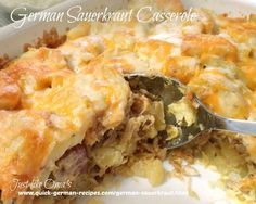 German Sauerkraut Casserole Recipe Main Dishes with cooked ham, onions, butter, paprika, potatoes, sauerkraut, salt, pepper, eggs, milk, grating cheese