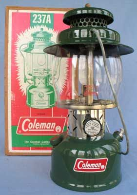 A classic Coleman lantern. Just like one I had growing up. Miss the smell and the sound and especially miss getting to light it