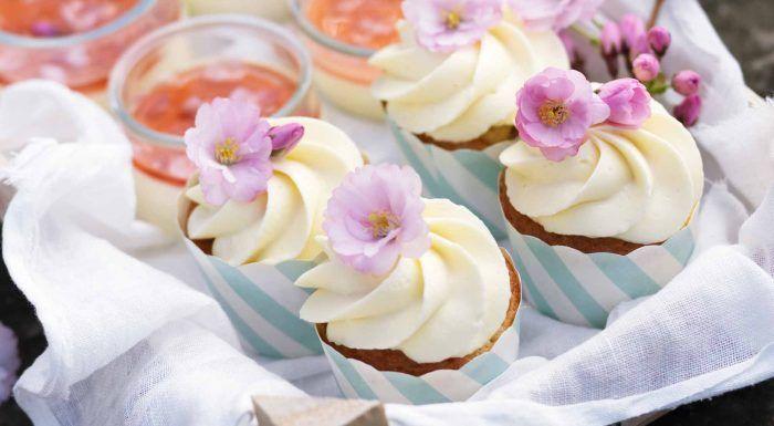 Rabarbercupcakes med vit chokladtopping